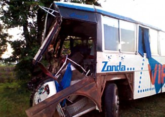 The bus that crashed near Naypyidaw on Sunday. (PHOTO: state media)