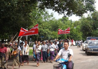Farmers rally in Hpa-an on 25 August 2014. (PHOTO: DVB)