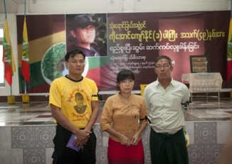 Ma Thandar and two activists who have called for an independent investigation into Par Gyi's death. (PHOTO: DVB)
