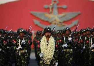 A 2014 file photo shows Burmese soldiers on parade. (PHOTO: DVB)