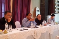 """Speaking in Chiang Mai on 27 November 2014, NCCT Vice-chairman Nai Hongsa (2nd left) tells the MPC that a 2014 is now """"completely impossible"""" following the Burmese army's killing of 23 cadets in Kachin State. (PHOTO: DVB)"""
