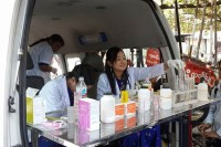 A mobile lab tests products in Mandalay last weekend. (PHOTO: Dr Tun Zaw)