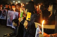 A candlelit vigil was held for Khin Win in Rangoon on Wednesday, 24 December 2014. (PHOTO: DVB)