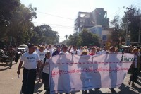 Protestors set off from Monywa on 5 January 2015 to march to Latpadaung in solidarity with villagers who oppose the copper mine project there. (PHOTO: MATA)