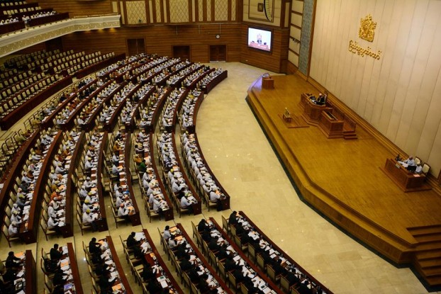 MPs takes their seats as parliament resumes for another session on 2 May 2016. (Photo: DVB)