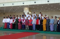 President Thein Sein joins ethnic leaders for peace talks in Naypyidaw on 5 January 2015. (PHOTO: DVB)