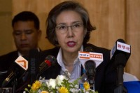 Yanghee Lee, UN Special Rapporteur on the Situation of Human Rights in Burma, speaks at the Sedona Hotel in Rangoon,  16 January (Photo: DVB)