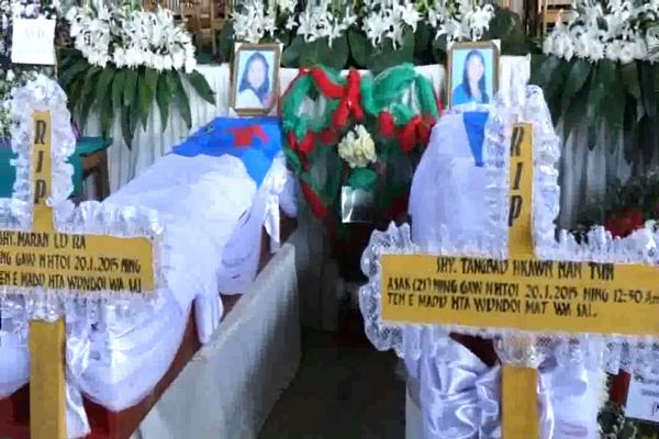 The funeral of the schoolteachers, brutally murdered in northern Shan State, is held in Myitkyina on Friday (Photo: DVB)