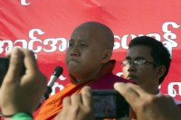 Buddhist monk Wirathu, pictured at Tamwe on Friday, 16 January 2015. (PHOTO: DVB)