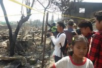 The aftermath of a fire in Kyinmyindaing Township in Rangoon (Photo: DVB/Aung Thu)