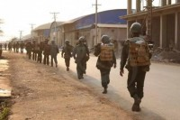 Burma Army troops patrol Laogai. The government have said they will not negotiate with the Kokang rebels (Photo: DVB)