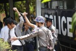 Student activists arrive at Letpadan Township Court to hear charges on 25 March 2015. (Photo: DVB)