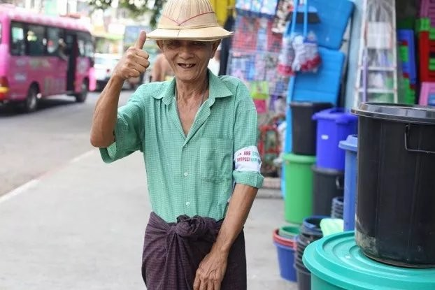 A supporter of the white armband campaign in Rangoon (Photo: Ei Ma Ma Mon)