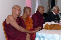 Monks, injured in the Laptadaung firebombing in 2012, hold a press conference on Monday (Photo: DVB)