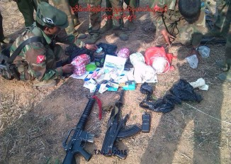 A TNLA photo of items they say were recovered from the Pangsay People's Militia base (Photo: Facebook/ TNLA)