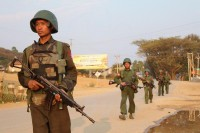 Burmese government troops on patrol in Laogai. (PHOTO: DVB)