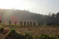 Arakan Army troops manoeuvre near Kyauktaw. (PHOTO: Arakan Army Information Department)