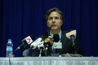 Deputy Secretary of State Anthony Blinken speaking at a press conference in Rangoon on Friday 23 May (Photo: DVB)