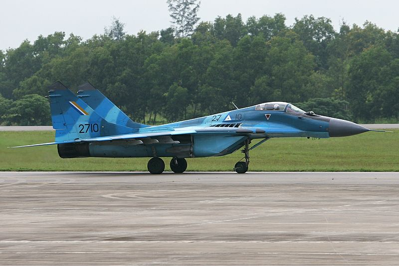 Could this have been one of the aircraft that bombed Kachin rebel outposts on 10 October 2016? - A Burmese air force Mikoyan-Gurevich MiG-29B (9-12B), pictured at Rangoon airport in October 2007. (PHOTO: wikicommons)