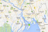 The southern Bangladesh Hatiya Island, marked with a green point, where it is reportedly planned that Rohingya migrants will be relocated. (Photo: Google Maps)