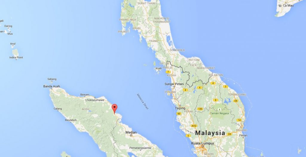 Red pin marks Langsa in Indonesia's Aceh province.