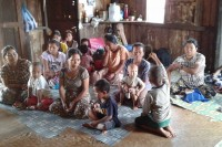 Displaced villagers pictured during their temporary stay at a Buddhist monastery in Mansan on 22-23 May 2015. (PHOTO: Sao Hsu)