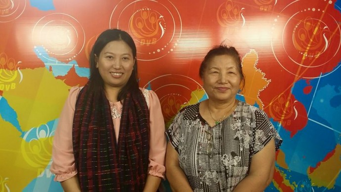 Moon Nay Li and Shirley Seng pose for a photograph at the DVB office. (PHOTO: DVB).