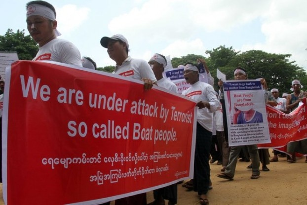 Earlier in 2015, more than 100 people took to the streets protesting the international spotlight on the Rohingya boat people. (PHOTO: DVB).