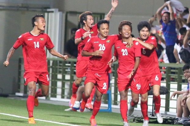 Myanmar fans cheMyanmar fans cheering on as Team Myanmar celebrate their first goal by Thura Shine at Jalan Besar Stadium against Indonesia. (PHOTO: Lawrence Tan/SINGSOC)ering on as Team Myanmar celebrate their first goal by Thura Shine at Jalan Besar Stadium against Indonesia. Photo by Lawrence Tan/SINGSOC