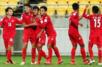 The Burmese U-20 team celebrates its only goal against New Zealand on 5 June, a game they ended up losing 5-1. (PHOTO: MFF)
