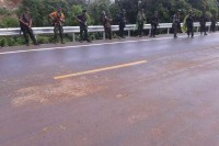 DKBA troops line the Asian Highway around Kawkareit on 2 July 2015. (PHOTO: DVB)