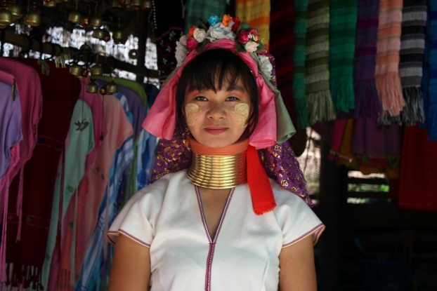 A Padaung poster-woman living in the village of Huay Sua Thao, Mae Hong Son. (PHOTO: Melanie Keyte).