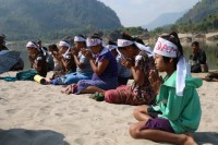 Villagers protesting the damming of the Salween on International Rivers Day, 14 March 2015. (PHOTO: KESAN).