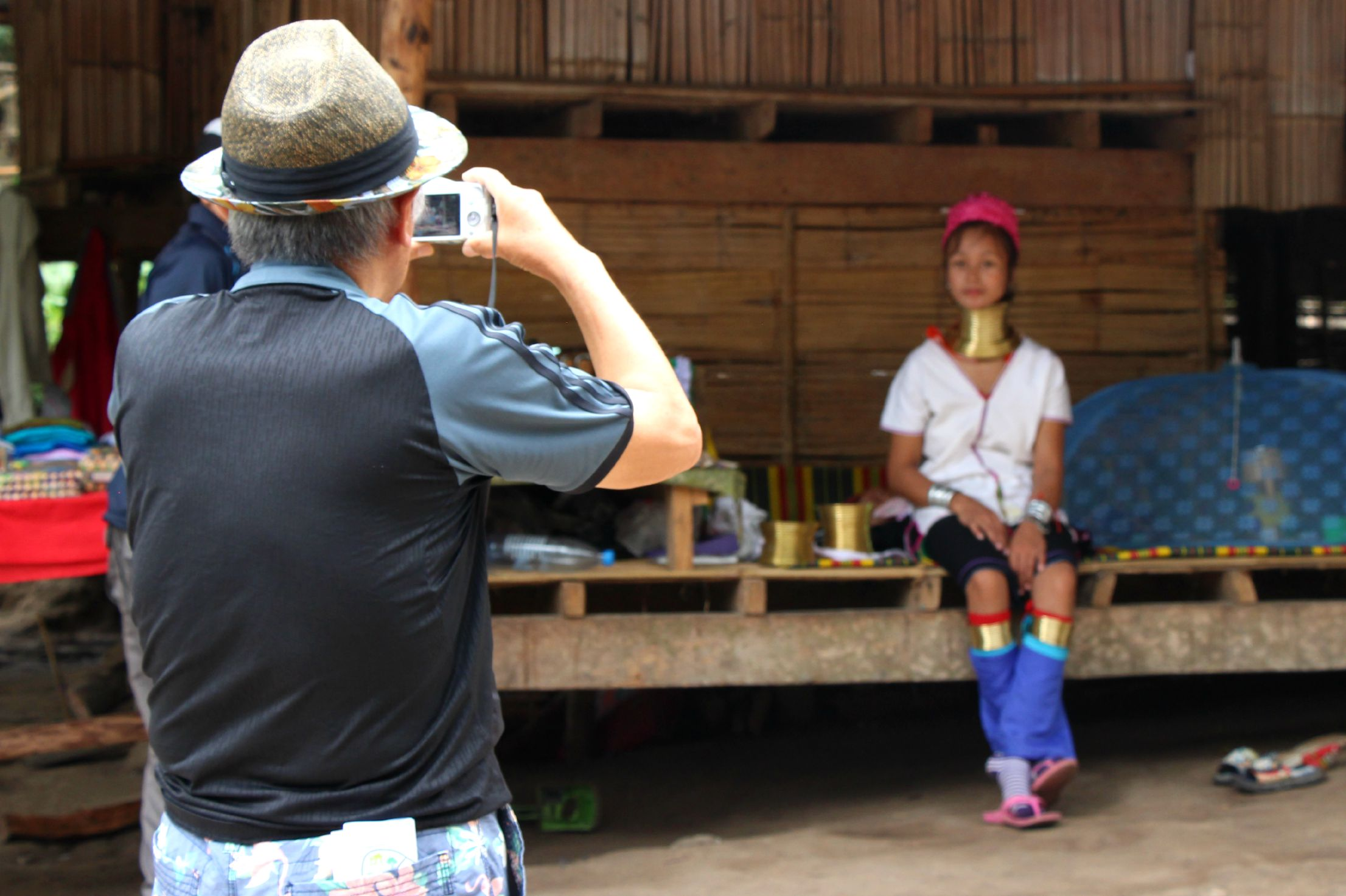 Tourists pay 500 Thai baht (US$16.50) to see the long-neck Padaung women. (PHOTO: Melanie Keyte).