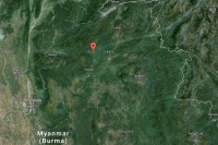 Burmese army outpost was attacked about a mile outside Namtu (marked with red flag) on 5 July 2015.
