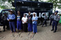 Five activists sentenced to prison for protests after Latpadaung crackdown. Photo: DVB