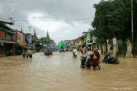 Floodwaters in Panthein [Bassein] (PHOTO: DVB)