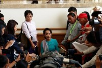 Aung San Suu Kyi speaking during a break in the parliamentary session in Naypyidaw, 18 August. (PHOTO:DVB)