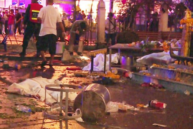 The scene after the bombing at Erawan Shrine in Bangkok in August. (PHOTO: commons)