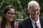 Australian editor Alan Morison (right) and Thai journalist Chutima Sidasathian of Phuketwan smile as they arrive at court in Phuket, Thailand, on 1 September 2015. (PHOTO: Reuters)