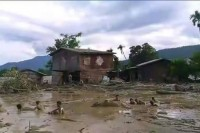 Tuikhingzang village flooded by mudslides (Photo: Sang Uk Cung/Facebook; coutesy of Chinland Guardian)