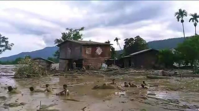 Chin State town submerged by mudslide