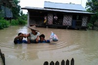 A potential voter caught in August's flood disaster in Kale, Sagaing division. (PHOTO: DVB)