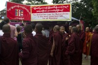 Ma-Ba-Tha monks in Rangoon celebrate the passing of the 'Race and Religion' laws. (PHOTO: DVB)