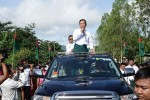 USDP's Shwe Mann takes to the streets of Phyu to woo voters with promises of better services, on 11 September 2015. (Photo: DVB)