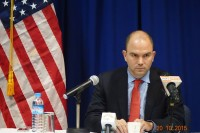 U.S. deputy national security advisor Ben Rhodes pictured in Rangoon on Tuesday. (PHOTO: YAMIN OO/DVB)