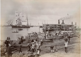 An Irrawaddy Flotilla steamer comes into port in Rangoon, c.1890. (PHOTO: Felice Beato)