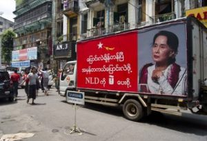 NLD campaigning trucks in Rangoon, September 16 (PHOTO: DVB)