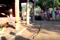 Flood damage has caused cracks to appear in the streets of Kyaw Zin village. (PHOTO: DVB)