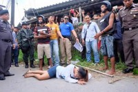 Burmese suspects re-enact the alleged murder of Orawee Samphaothong, 18. (PHOTO: MCOT)